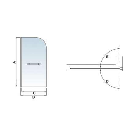 Шторка на ванну RGW SC-06 80х150 прозрачное стекло
