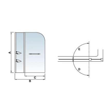 Шторка на ванну RGW SC-08 100х150 прозрачное стекло