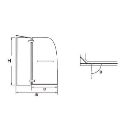 Шторка на ванну RGW SC-13 100х150 прозрачное стекло