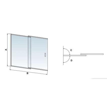 Шторка на ванну RGW SC-40 100х150 прозрачное стекло