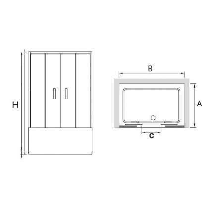Шторка на ванну RGW SC-61 170х150 прозрачное стекло