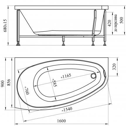 Акриловая ванна Радомир Орсини 160x90 L левая