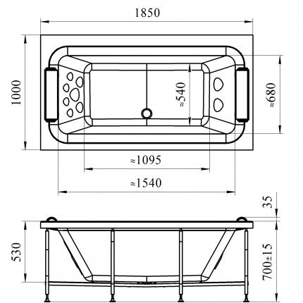 Акриловая ванна Радомир Хельга 185x100
