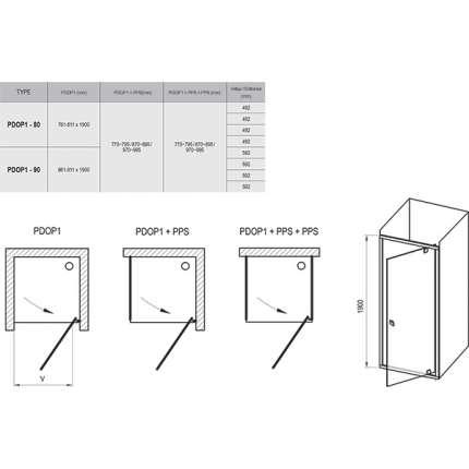 Душевая дверь Ravak Pivot PDOP1-80 сатин + транспарент 03G40U00Z1