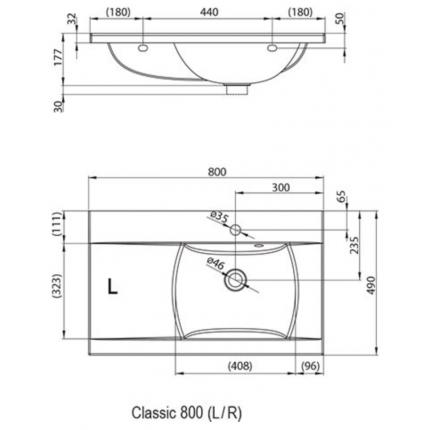 Умывальник Ravak Classic L 800 XJDL1180000