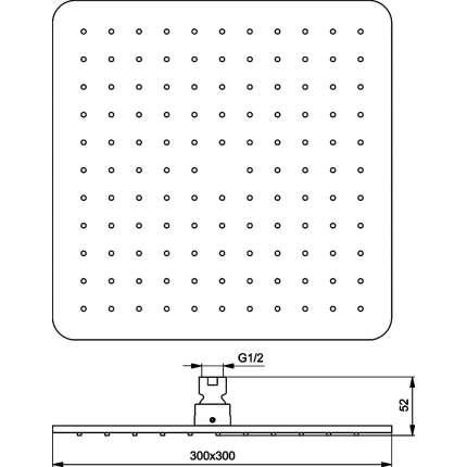 Верхний душ Ideal Standard Idealrain Cube M1 B0025AA 300 мм, хром
