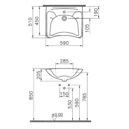 Раковина Vitra Arkitekt 6147B003-0001