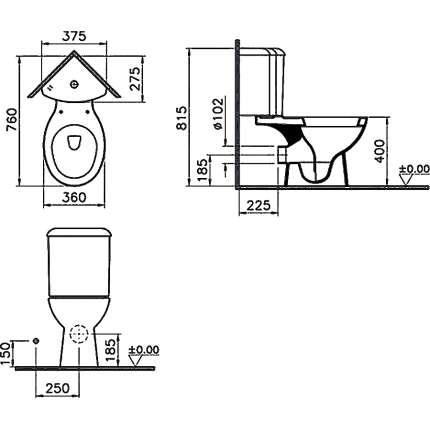Унитаз напольный VitrA Arkitekt 9754B003-7200 угловой, с сиденьем