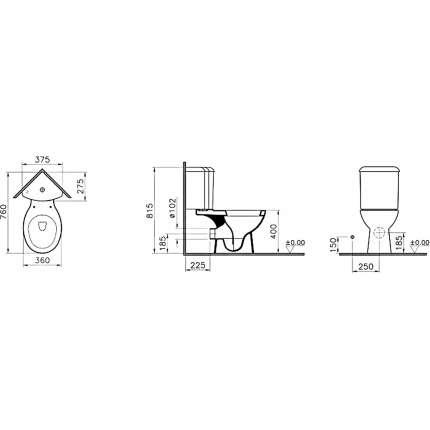 Унитаз напольный VitrA Arkitekt 9754B003-7201 угловой, с сиденьем микролифт