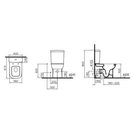 Унитаз напольный VitrA S20 9800B003-7205 с функцией биде и сиденьем микролифт