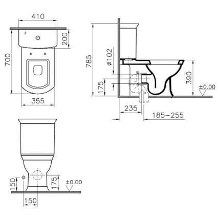 Унитаз напольный VitrA Serenada 9722B003-7205 с функцией биде и сиденьем микролифт