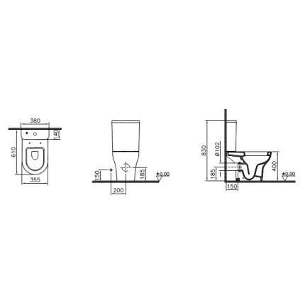 Унитаз напольный VitrA Zentrum 9012B003-7203 с сиденьем