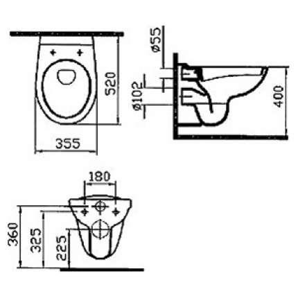 Унитаз подвесной VitrA Normus 9773B003-7200 с инсталляцией