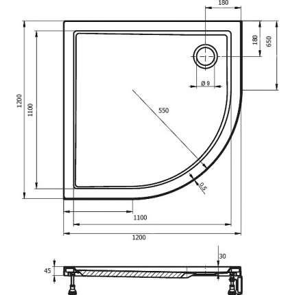 Душевой поддон Riho Davos 289 120x120 см