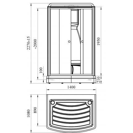 Душевая кабина Радомир Диана-3 140x108 с гидромассажем