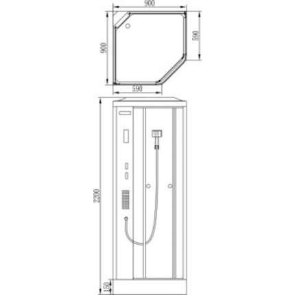 Душевая кабина без пара Orans EW-111 90х90
