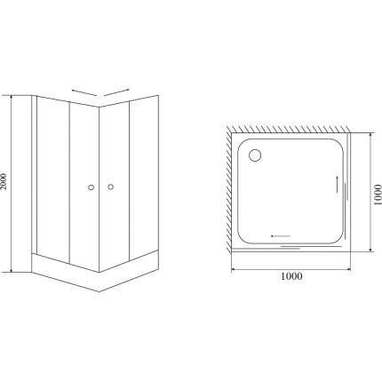 Душевой уголок Timo Romb Glass TL-1102 100х100 прозрачный