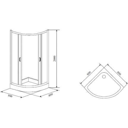 Душевой уголок Timo Fabric Glass TL-8001 80х80 матовый