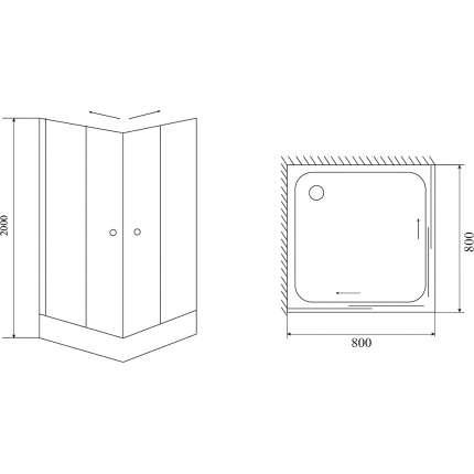 Душевой уголок Timo Romb Glass TL-8002 80х80 прозрачный