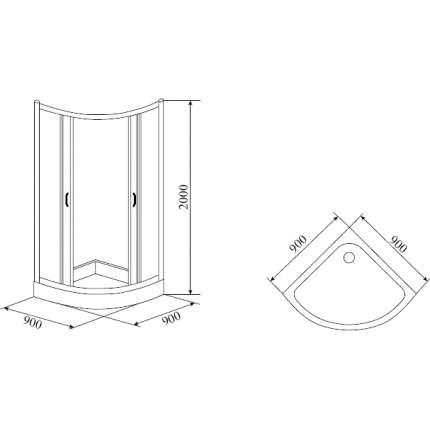 Душевой уголок Timo Fabric Glass TL-9001 90х90 матовый