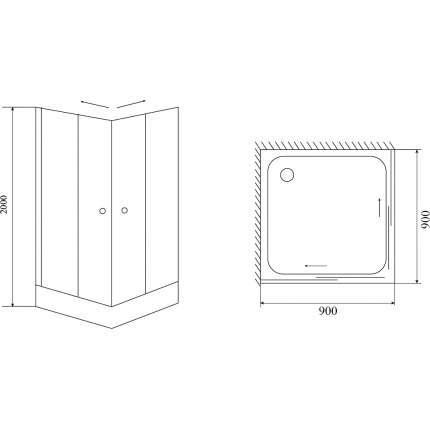 Душевой уголок Timo Fabric Glass TL-9002 90х90 матовый